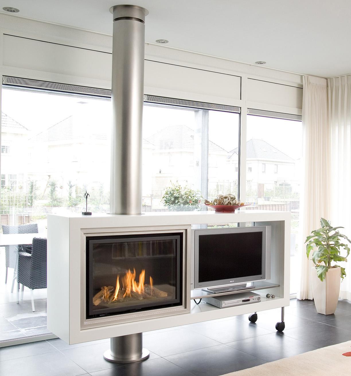 Salone In Stile Moderno Con Marmo E Camino Aperto Interior Design : Caminetti moderni design moderno camini