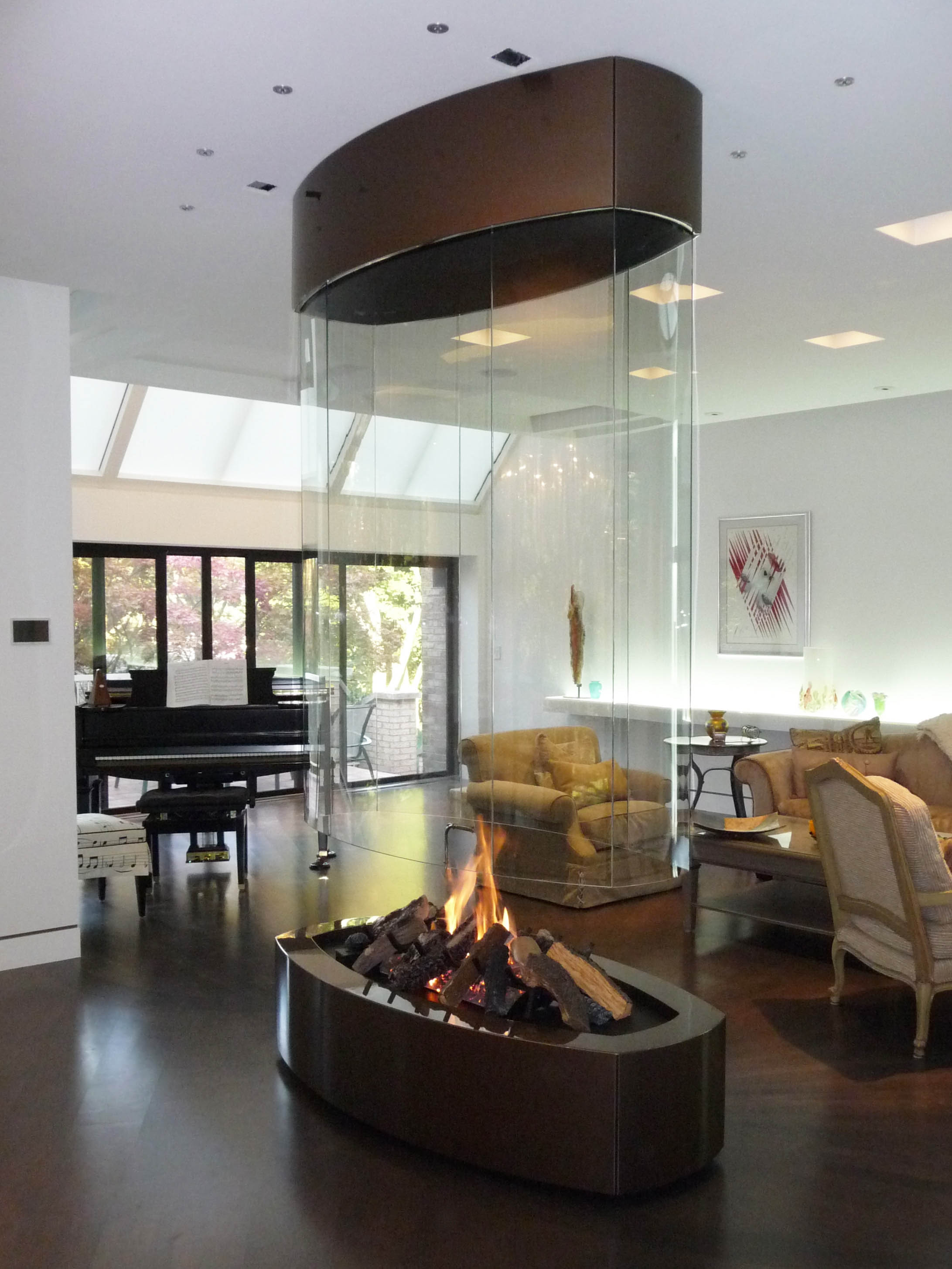oval fireplace - contemporary fireplace